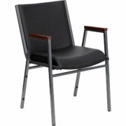 Flash Furniture Multipurpose Stacking Armchair -Black Vinyl Cushion/Silver Vein Frame, 21Inch W x 21Inch D x 31Inch H, Model XU60154BKVYL