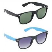 HRINKAR Men's Green Mirrored Wayfarer Sunglasses