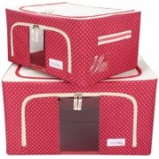 BlushBees Living Box - Utility Combo Storage Boxes for Clothes, Saree Cover - 24 + 55 Litre, Pack of 2, Polka Dots Red(Red)