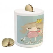 Quote Coin Box Bank by Ambesonne, Artistic Composition with Little Princess Girl Unicorn Never Stop Dreaming Quote, Printed Ceramic Coin Bank Money Box for Cash Saving, Multicolor