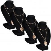 vidaXL Flanelový stojan na náhrdelníky a retiazky, čierny, 9x8,5x15 cm, 4 ks