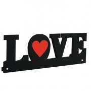 Cabideiro Wall Star Love 12x40cm Preto Kapos