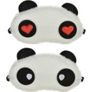 Jonty Water Red Heart Panda Travel Sleep Cover Blindfold (Pack of 2) Eye Shade(Multicolor)