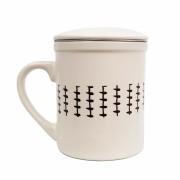 Cana cu infuzor si capac ceramica si inox 320 ML Crem