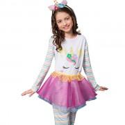 Pijama Feminino Infantil Veggi Manga Longa de Personagem Unicórnio com Saia Removível Kids e Teen