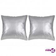 vidaXL Set jastuka od PU kože 2 kom 60x60 cm srebrni
