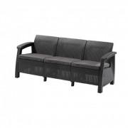 Corfu love seat max kanapé, grafit színben, világos szürke párnával