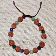 Bratara zodia Taur cu rudraksha si pietre semipretioase