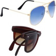 Elgator Aviator, Wayfarer Sunglasses(Blue, Brown)