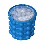 Ice Cubes Maker Genie Space Saving Dual Chambers Silicona Cubos De Hielo Fabricante Molde Azul