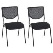 Ofisillas Lote 2 sillas de confidente NAPOLI, estructura metálica, color negro y patas negras