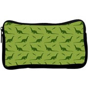 Snoogg Dinosaur Green Pattern Poly Canvas Student Pen Pencil Case Coin Purse Utility Pouch Cosmetic Makeup Bag