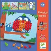 DJECO Układanka edukacyjna kolorowe obrazki - Mozaika leśne zwierzęta, 4 lata +, DJ08136