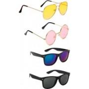 Elligator Aviator, Round, Wayfarer Sunglasses(Yellow, Pink, Blue, Black)