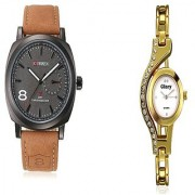 Curren Broun and Glory golden Chain dimond analog Couple Watches For Men and Women