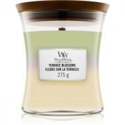Woodwick Trilogy Terrace Blossoms lumânare parfumată cu fitil din lemn 275 g