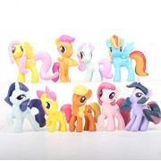 Smart Buy My Little Pony 9 Pcs. Twilight Sparkle, Pinkie Pie, Flutter Shy, Scootaloo, Sweetie Belle, Apple Bloom, Rarity, Rainbow Dash, Apple Jack 4-5 Cms. Action Figure