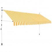 vidaXL vidaXL Copertină retractabilă manual, 350 cm, dungi galben și alb