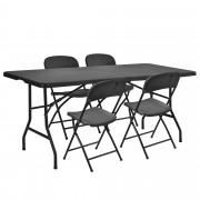 PremiumXL - [casa.pro] Plastični kamp stol sa 4 stolice - vrtni namještaj-set