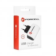 Универсално зарядно Forcell 1A - за iPhone 5/5s/5c/SE/6/6s/6+/6s+/7/8/7+/8+/X с Lightning кабел (бяло)