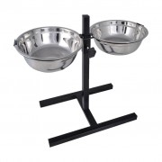 Adjustable Diner Pet Dog Feeding Stand 2 x 2.6 L Stainless Steel Bowls