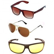 Magjons Brown Wayfarer Gold Brown Aviator Sunglasses Combo Yellow Driving Goggale Set of 3 With box MJK010