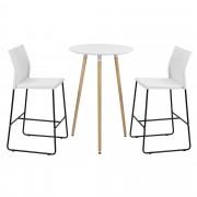 [en.casa] Mesa de bar redonda - diseño retro - blanca - set de 2 sillas de diseño - blancas