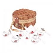 Katicás porcelán teáskészlet piknik kosárban