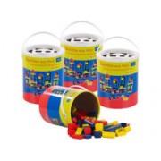 Playtastic 4 seaux de 100 blocs de construction en bois en 4 couleurs et 6 formes