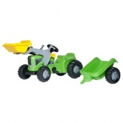 Traktor na pedale Rolly kid sa prikolicom i kašikom zeleni 630035