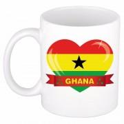 Bellatio Decorations Ghanese vlag hartje theebeker 300 ml