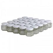 Lubéron Apiculture 35 pots verre hexagonaux 125g (116 ml) avec couvercle TO 48 - Couvercle - Blanc