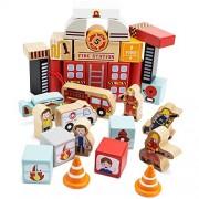 Boy Toy Playset, Wooden Wonders Elm Street Fire Station Blocks Kids Toys Playsets