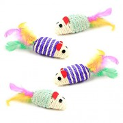 4 PCS Creative Cute Pet Toys Mice Cat Toy Mouse Cat Catcher Toys with Feather Tails