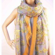 RAYFLECTOR Šátek šedo oranžový s motivem květin