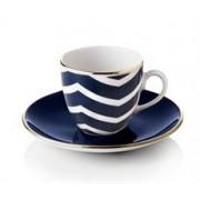 Selamlique Turecký kávový set 2 šálků s podšálky, modrá vlna - Selamlique