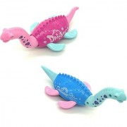 Emob Pack of 2 Cute Dinosaur Shape Friction Powered Toy with Swinging Head and Tail for Toddlers (Multicolor)