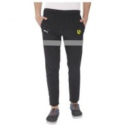 Puma Black Polyester Lycra Trackpants