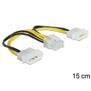 Delock kaabel Power 8 Pin EPS > 2 x 4 Pin molex, 15 cm