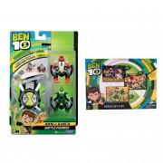 Set Ben 10 - Ceas de jucarie, Omnitrix lansator si 2 figurine de lupta - 4 Brate si Wildvine + Puzzle 3 in 1 - 172 piese
