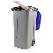 Socepi Bidone pattumiera raccolta indifferenziata da 100 litri con ruote e coperchio di colore blu