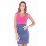 Dámské růžovo modré (grafitové) šaty 8427