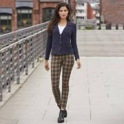 Recover Tartan-Skinny-Jeans, 38 - Beige/Grün/Rot