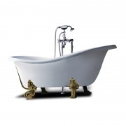 Vasca da bagno con piedini finitura bronzo Epoque 170x80 cm in sintetico bianco