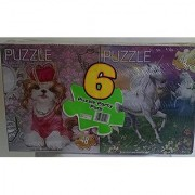 Puzzle Party Pack of 6 Puzzles: Fairies~Under Water Ocean Life~Out of This World Space~Dinosaur Times~Puppy Princess~Unicorns Fantasy