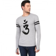 TRENDS TOWER Full Sleeve Round Neck Thumb Ring Mens T-Shirt Grey-Melange Color Om Graphics Print