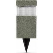 Lampa solara LED imitatie piatra material plastic aprindere automata acumulator reincarcabil 300mAh NiMh panou solar 1 2V 30 mA alb-rece
