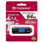 USB DRIVE, 64GB, Transcend JETFLASH 790, USB3.0, Black (TS64GJF790K)
