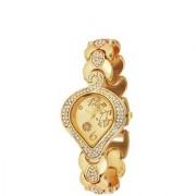 Golden Stainless Steel Chain Wrist Watch for Women