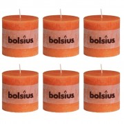 Bolsius Rustic Pillar Candles 6 pcs 100x100 mm Orange